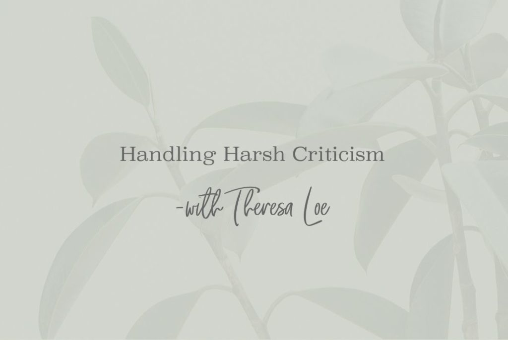 SS 19 Handling Harsh Criticism - www.TheresaLoe.com