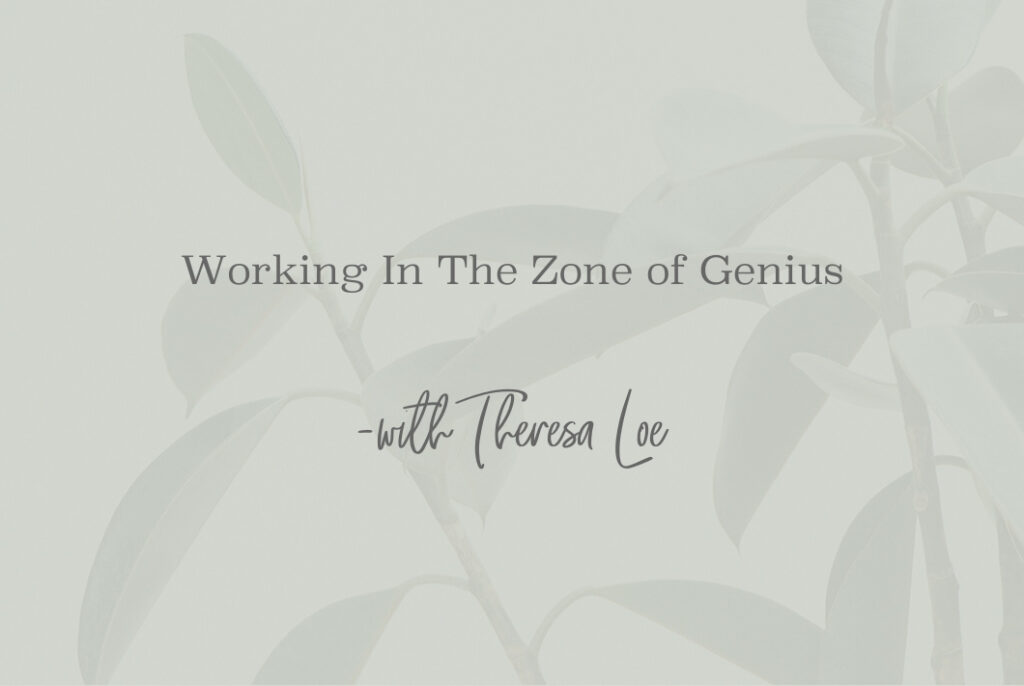 SS 70 Working In The Zone of Genius - www.TheresaLoe.com