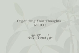 SS 112 Organizing Your Thoughts As CEO - www.TheresaLoe.com